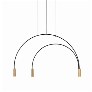 Estiluz Volta Pendant Black & Gold 3 Bulbs