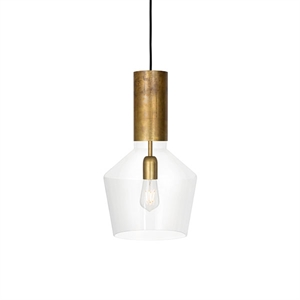Konsthantverk Fenomen Wide Pendant - Clear Glass & Brass
