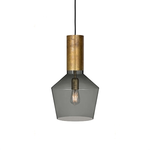 Konsthantverk Fenomen Wide Pendant - Smoke-coloured Glass & Brass