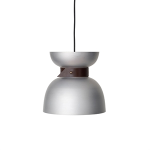 Konsthantverk Liv Pendant - Raw Aluminium & Black Leather