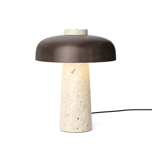MENU Reverse Table Lamp Travertine & Bronzed Brass
