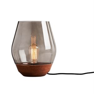 NEW WORKS Bowl Table Lamp Raw Copper w. Smoked Glass Shade