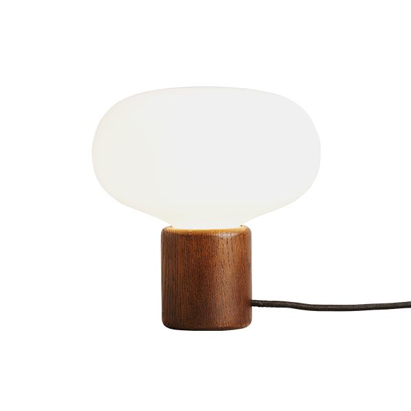 New works karl johan table lamp smoked oak w white opal glass