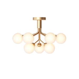 Nuura Apiales 9 Ceiling Light Brass and Opal Glass