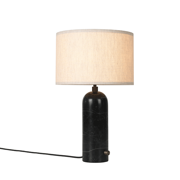 GUBI Gravity Table lamp Black Marble & Canvas Shade Small ...