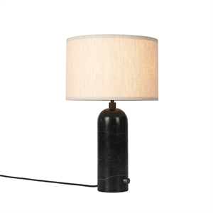 GUBI Gravity Table lamp Black Marble & Canvas Shade Small