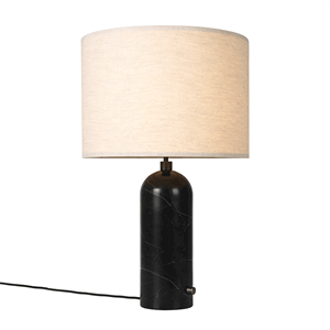 GUBI Gravity Table lamp Black Marble & Canvas Shade Large