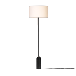 GUBI Gravity Floor lamp Black Marble & White Shade Large