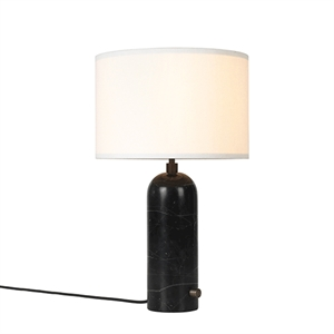 GUBI Gravity Table lamp Black Marble & White Shade Small